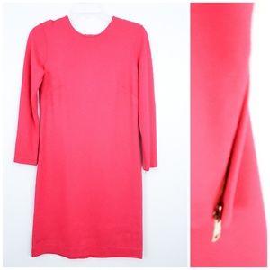 Ann Taylor Long Sleeve Sheath Dress Pink Zipper